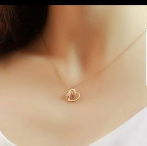 ANAVIA BUTTERFLY  HEART ROSE GOLD NECKLACE